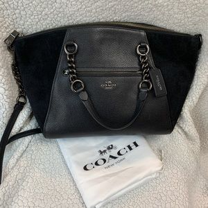 Coach Prairie Leather and Suede Satchel in Black